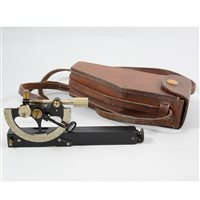 Lot 89-A portable hand held inclinometer, E R Watts & Son, London, No. 22735, 20cm, in a leather holster.