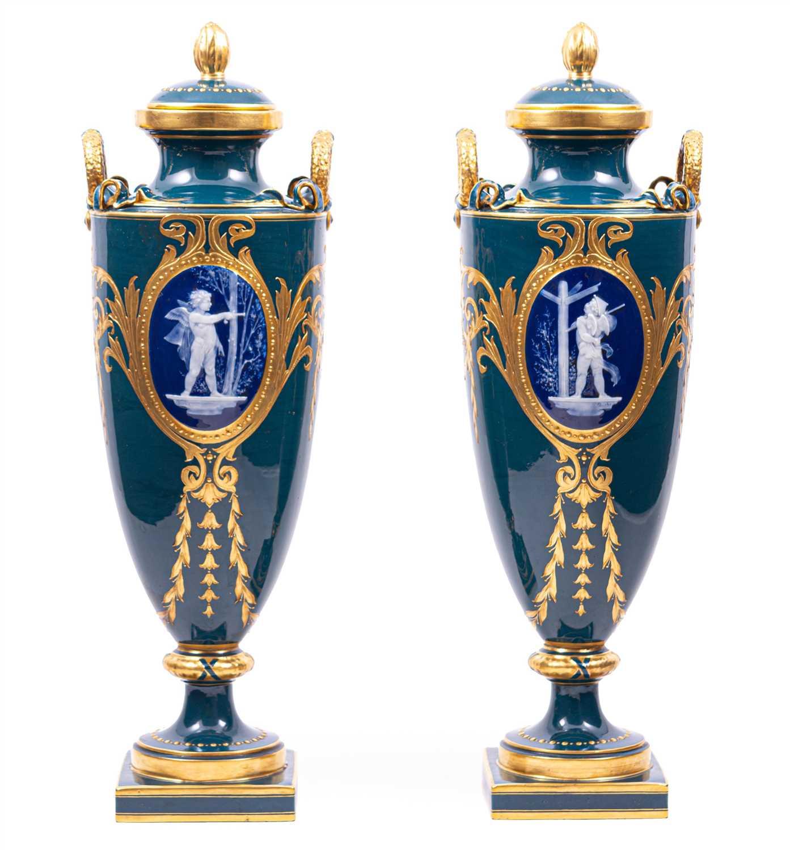 Lot 40-A pair of Minton pâte-sur-pâte vases by Albion Birks, 1909