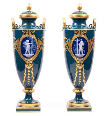 Lot 40-A pair of Minton pâte-sur-pâte vases by Albion Birks, 1909