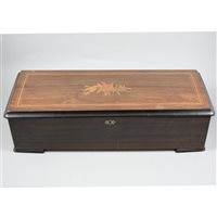 Lot 150-A Swiss musical box playing twelve airs, stained wood case with inlaid rosewood lid.