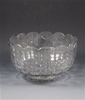 Lot 58-Regency facet cut glass basin, lobed rim, diameter 26cm.