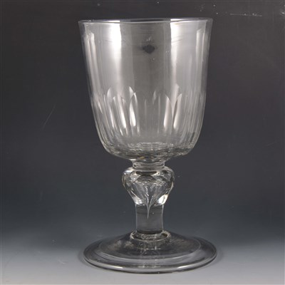 Lot 7-A massive Victorian glass goblet, rounded funnel bowl