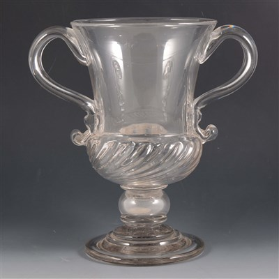 Lot 5-A twin handled glass loving cup, mid 18th Century