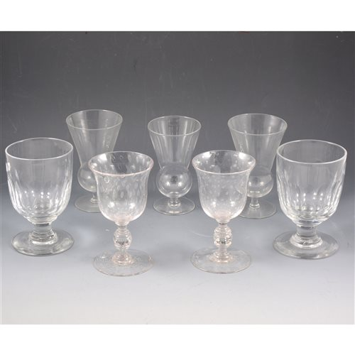 Lot 63-Pair of Victorian rummers; pair of wine glasses; and three ale glasses, (7)