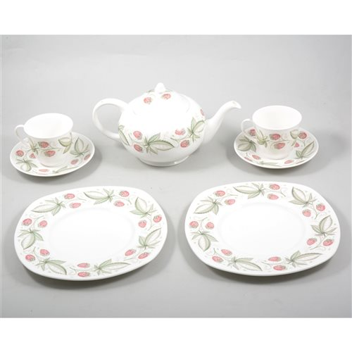 Lot 45-Susie Cooper bone china teaset, Wild Strawberry pattern, including a teapot, 15cm. (32)