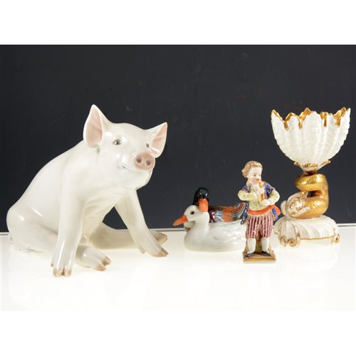 Lot 50 - Royal Copenhagen model of a pig, No. 414, 18cm, Herend ducks, and other small figures, (11).