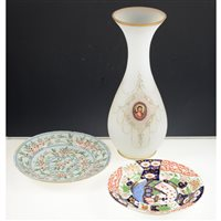 Lot 11-Staffordshire earthenware dinner service, Bisto Bexley pattern, an opaque glass vase, with a painted panel, Man of Sorrows, Wedgwood blue jasperware salad bowl and matching servers and other ceramics.