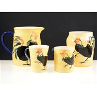 Lot 60-Holdenby art pottery table service, with painted designs after Suzanne Katkhuda.