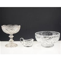 Lot 59-A tray of pressed and cut glass, fruit bowls, jugs, sweet dishes, liqueur glasses etc