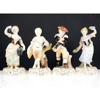 Lot 7-Set of four Stevenson & Hancock bone china figures, The Seasons.