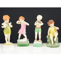Lot 40-A collection of Royal Worcester figurines, including Days of the Week's Monday Boy and Girl, Tuesday Boy, Wednesday Boy and Girl, Thursday Girl, Friday Boy and Girl; nursery rhyme figurines (12)