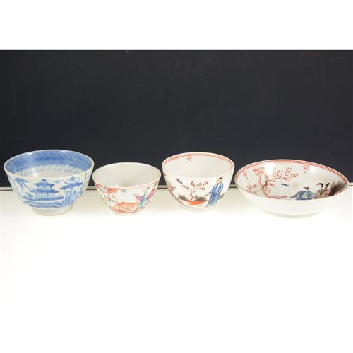 Lot 9-Chinese export porcelain tea bowl and saucer, painted with Mandarin figures and two other Chinese tea bowls, (4).