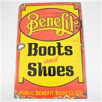 Lot 92-Advertising: Benefit Boots and Shoes, an enamelled sign, 50 x 33cm.