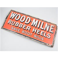 Lot 74-WOOD-MILNE Rubber Heels save boot bills, an enamelled sign, 23 x 51cm.