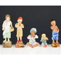 Lot 33-A collection of Royal Worcester Children of the Nations figurines by F.G. Doughty, including 'Burma' 3068, 'China' 3073, 'Egypt' 3066, 'England' 3075, 16cm and smaller, (11).