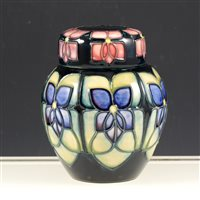 Lot 29-Moorcroft ginger jar, Violet pattern