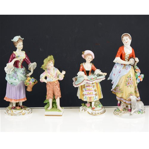 Lot 26-Pair of Sitzendorf figures, fruit harvesters, 20th Century, 25cm, three other pairs of Sitzendorf figurines and four others, (12).
