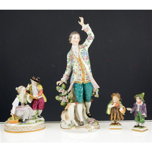 Lot 28-A collection of porcelain figurines, including three pairs of Sitzendorf figurines and a pair of Unter Weiss Bach figurines (tallest is 27cm high). (13)