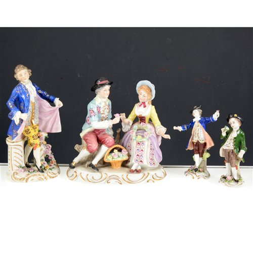 Lot 39-A pair of Sitzendorf figures of a young lady and gentleman, 20th Century, 20cm, three other Sitzendorf figures and a collection of Continental figurines, together with a group, (16).