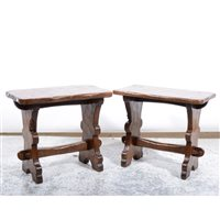 Lot 511-A pair of oak stools by Thomas 'Gnomeman' Whittaker