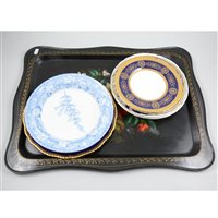 Lot 70-A Russian hand painted tin tray, marked USSR, together with seven decorative plates