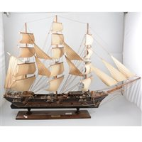 Lot 105-Scale model of an 18th Century Frigate under full sail, length overall 90cm.