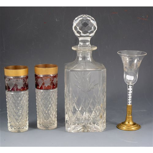 Lot 24-A quantity of assorted crystal glasses and decanters