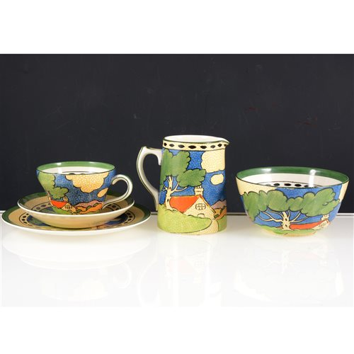 "Lot 13-Booths silicon china teaset,  ""Countryside"" pattern, inspired by Clarice Cliff."