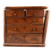 Lot 117-Victorian mahogany apprentice piece chest of drawers