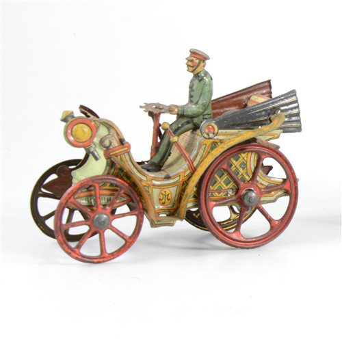 63 - An early 20th Century tin-plate vintage motor car,