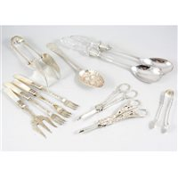 Lot 120-A quantity of silver-plated and EPNS flatware, including a cased set of six pastry knives and forks by Mappin & Webb, blue lining, lid with brass escutcheon; a cased set of six butter knives with g...