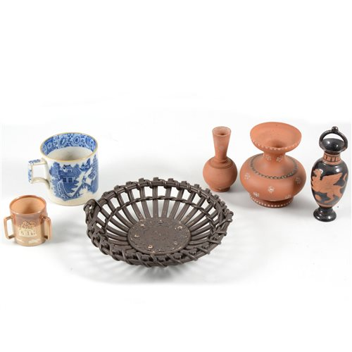 Lot 39 - Three pearlware mugs, early 19th Century, transfer printed decoration, 7cm, a Doulton Lambeth miniature tyg, small terracotta vases, etc.