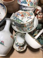Lot 12-Wedgwood green jasperware jug, 13cm and a collection of English and Far Eastern ceramics.