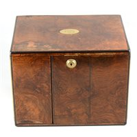 Lot 108-A burr wood humidor/table cabinet, stamped Batson, London
