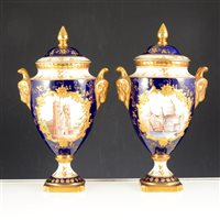 Lot 30-Pair of Coalport urn shaped covered vases,  Westminster Abbey and St. Pauls Cathedral.