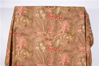 """Lot 183-Two curtains printed design on woven fabric, width 90"""" drop 108"""""""