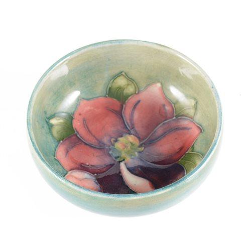 Lot 32-Small Moorcroft circular bowl, Clematis design, diameter 8cm.