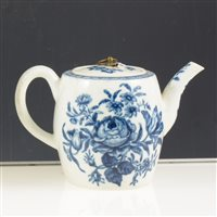 Lot 5-First period Worcester blue and white teapot, printed rose-centred spray group. circa 1770, restored lid, 10cms.