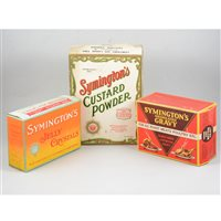 Lot 87-Advertising: Symington's custard powder, original carton and two others Symington's granulated gravy and Symington's jelly crystals, (3).