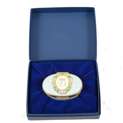 Lot 67-Halcyon Days Princess of Wales enamel box, commissioned limited edition.