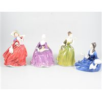 Lot 32-A collection of Royal Doulton ladies, comprising matt 'Geraldine' HN 2348, 'Fleur' HN 2368, 'Rosalind' HN 2393, 'Lynne' HN 2329, 'Ninette' HN 2379. (9)