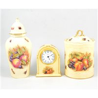 "Lot 72-A collection of Aynsley ""Orchard Gold"" items, including plates, vases and a clock"