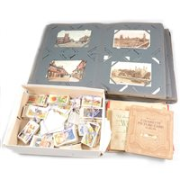 Lot 119-An album of postcards - topographical, London, Bedford, Bletchley, Lichfield, Scotland, Comic, Mabel Lucie Attwell, Sentimental and box of cigarette cards.