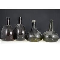 Lot 1-Two olive green onion shaped glass bottles, and two brown glass bottles (4).