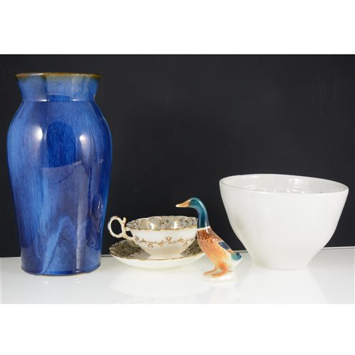 Lot 65-Two boxes of decorative ceramics, cut glass decanters, other glassware