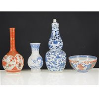 Lot 2-Chinese blue and white gourd shape jar with lid, a small tea bowl, Satsuma stem vase, and another vase (4).