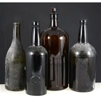 Lot 56-One box of old glass bottles and jars.
