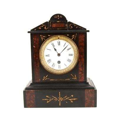 Lot 197-Victorian black marble mantel clock, ...