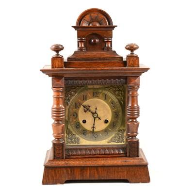 Lot 184-Oak cased mantel clock, late 19th Century, ...