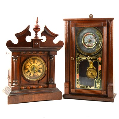Lot 116-Walnut and stained beech bugler alarm clock, Thomas Fattorini, and a shelf clock.